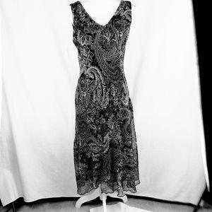 Dressbarn black with white paisley long dress 8
